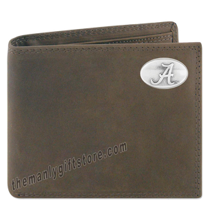 Alabama Crimson Tide Crazy Horse Genuine Leather Bifold Wallet