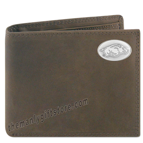 Arkansas Razorback Crazy Horse Genuine Leather Bifold Wallet