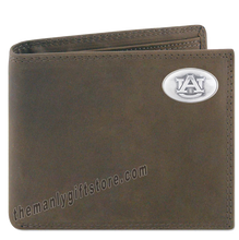 Load image into Gallery viewer, Auburn Tigers Crazy Horse Genuine Leather Bifold Wallet