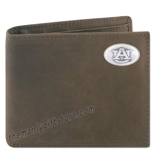 Auburn Tigers Crazy Horse Genuine Leather Bifold Wallet