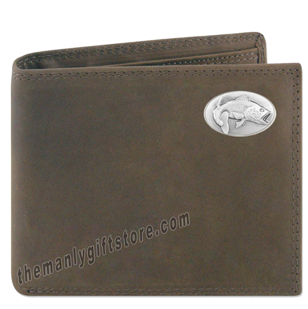 Largemouth Bass Crazy Horse Leather Bifold Wallet