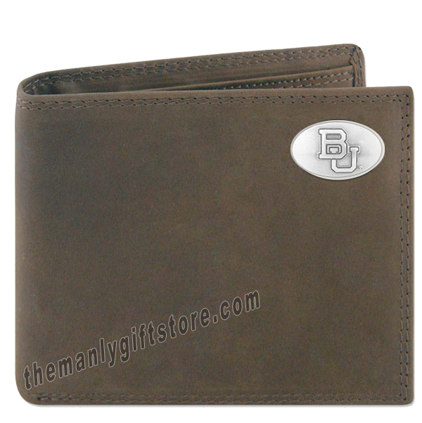 Baylor Bears Crazy Horse Genuine Leather Bifold Wallet