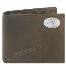 Load image into Gallery viewer, Clemson Tigers Crazy Horse Genuine Leather Bifold Wallet
