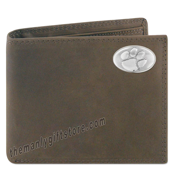 Clemson Tigers Crazy Horse Genuine Leather Bifold Wallet