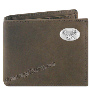 Buck Deer Crazy Horse Genuine Leather Bifold Wallet