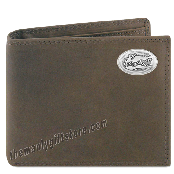 Florida Gators Genuine Crazy Horse Leather Bifold Wallet