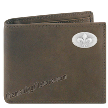 Load image into Gallery viewer, New Orleans Fleur De Lis Genuine Crazy Horse Leather Bifold Wallet