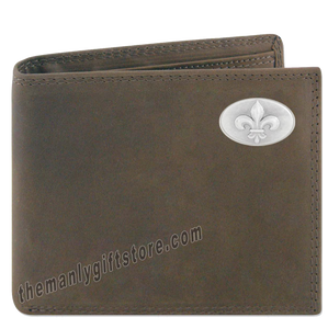 New Orleans Fleur De Lis Genuine Crazy Horse Leather Bifold Wallet