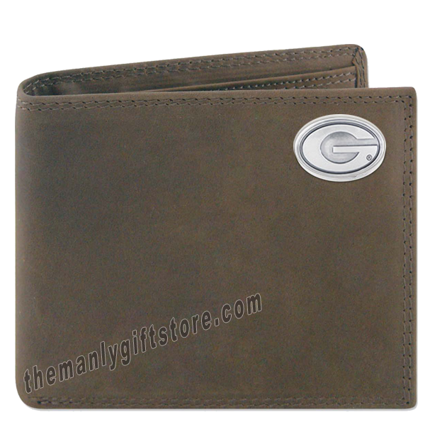 Georgia Bulldogs Crazy Horse Leather Bifold Wallet