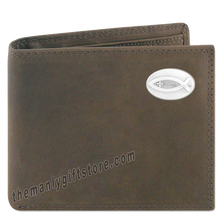 Load image into Gallery viewer, Ichthys Christian Fish  Crazy Horse Leather Bifold Wallet