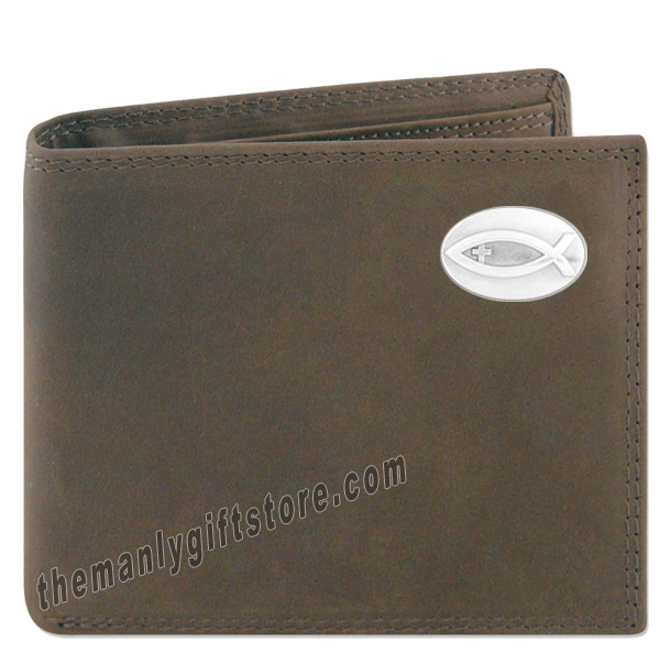 Ichthys Christian Fish  Crazy Horse Leather Bifold Wallet