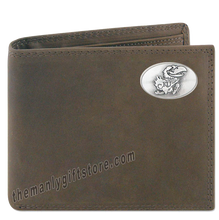 Load image into Gallery viewer, Kansas Jayhawks  Crazy Horse Leather Bifold Wallet