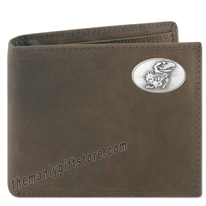 Kansas Jayhawks  Crazy Horse Leather Bifold Wallet