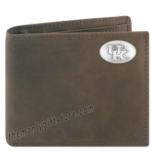 Load image into Gallery viewer, Kentucky Wildcats Crazy Horse Leather Bifold Wallet