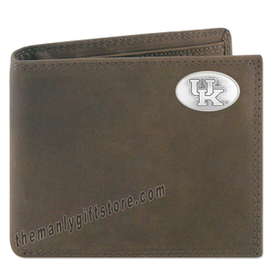 Kentucky Wildcats Crazy Horse Leather Bifold Wallet