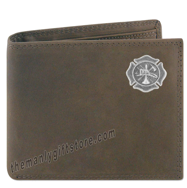 Maltese Cross Fireman Crazy Horse Leather Bifold Wallet