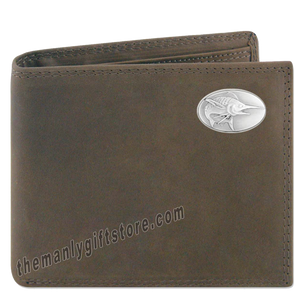 Marlin Saltwater  Fish Crazy Horse Leather Bifold Wallet