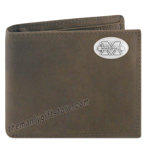 Marshall University Genuine Crazy Horse Leather Bifold Wallet
