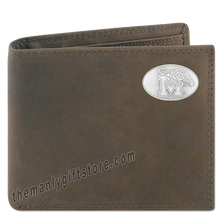 Load image into Gallery viewer, Memphis Tigers Genuine Crazy Horse Leather Bifold Wallet