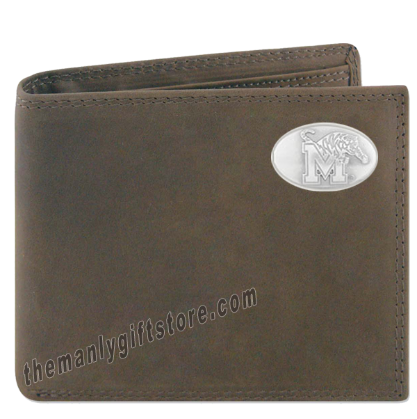 Memphis Tigers Genuine Crazy Horse Leather Bifold Wallet