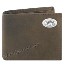 Load image into Gallery viewer, Mississippi State Bulldogs Genuine Crazy Horse Leather Bifold Wallet