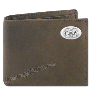 Mississippi State Bulldogs Genuine Crazy Horse Leather Bifold Wallet