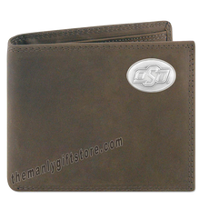 Load image into Gallery viewer, OSU Oklahoma State Genuine Crazy Horse Leather Bifold Wallet