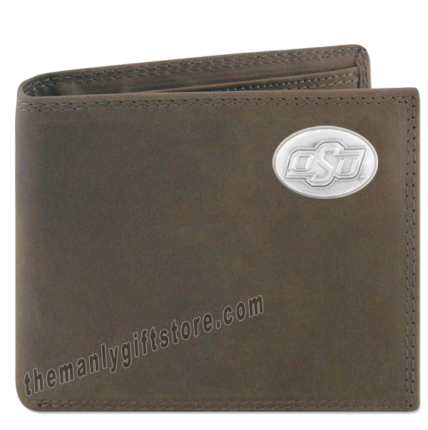 OSU Oklahoma State Genuine Crazy Horse Leather Bifold Wallet