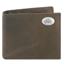 Load image into Gallery viewer, Ohio State Buckeyes Genuine Crazy Horse Leather Bifold Wallet