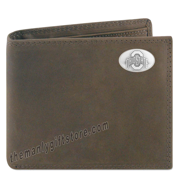 Ohio State Buckeyes Genuine Crazy Horse Leather Bifold Wallet