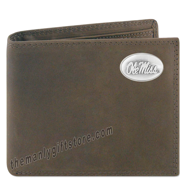 Ole Miss Rebels Genuine Crazy Horse Leather Bifold Wallet