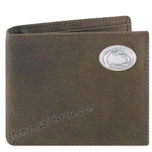 Penn State Nittany Lion Genuine Crazy Horse Leather Bifold Wallet