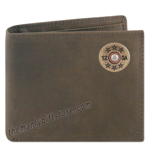 Shotgun Shell Genuine Crazy Horse Leather Bifold Wallet