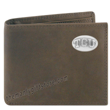 Load image into Gallery viewer, Texas Christian University TCU Genuine Crazy Horse Leather Bifold Wallet