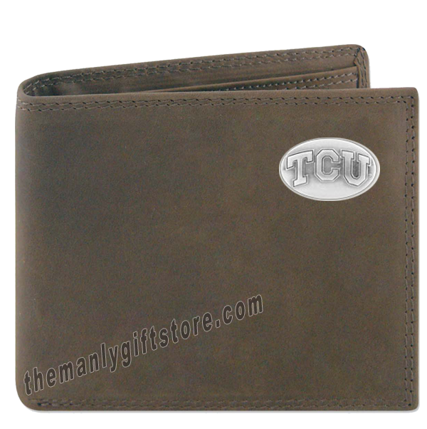 Texas Christian University TCU Genuine Crazy Horse Leather Bifold Wallet