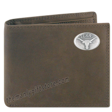 Load image into Gallery viewer, Texas Longhorns Genuine Crazy Horse Leather Bifold Wallet
