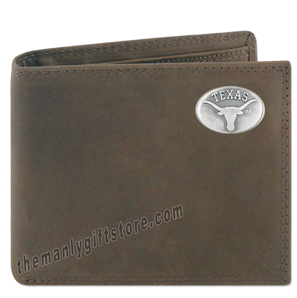 Texas Longhorns Genuine Crazy Horse Leather Bifold Wallet