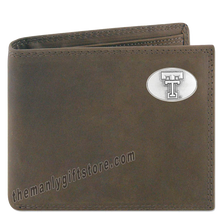 Load image into Gallery viewer, Texas Tech Red Raiders Genuine Crazy Horse Leather Bifold Wallet