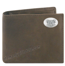 Load image into Gallery viewer, Troy Alabama Trojans Genuine Crazy Horse Leather Bifold Wallet