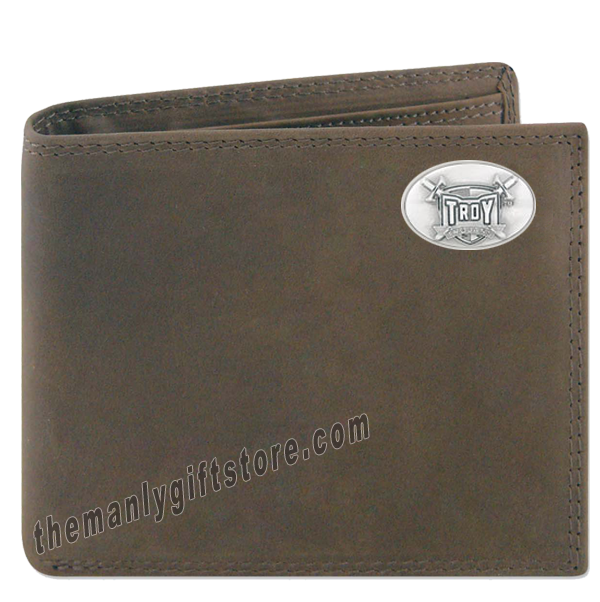 Troy Alabama Trojans Genuine Crazy Horse Leather Bifold Wallet