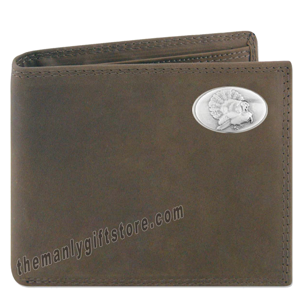 Turkey Strutting Genuine Crazy Horse Leather Bifold Wallet