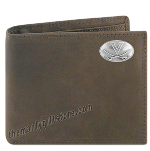 Virginia Cavaliers Genuine Crazy Horse Leather Bifold Wallet