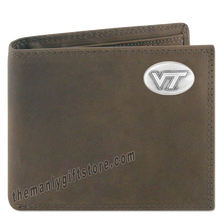 Load image into Gallery viewer, Virginia Tech Hokies  Genuine Crazy Horse Leather Bifold Wallet
