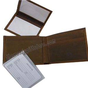 West Virginia  Genuine Crazy Horse Leather Bifold Wallet