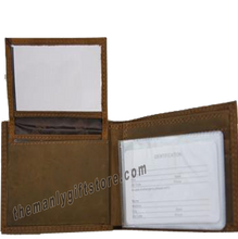Load image into Gallery viewer, Maltese Cross Fireman Crazy Horse Leather Bifold Wallet