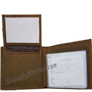 Texas Star Genuine Crazy Horse Leather Bifold Wallet