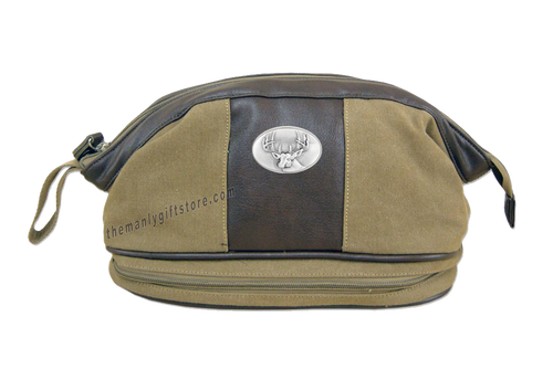 Buck Deer Zep Pro Khaki Canvas Concho Toiletry Bag