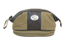 Load image into Gallery viewer, Alabama Elephant Zep Pro Khaki Canvas Concho Toiletry Bag