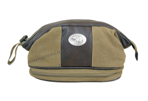 Alabama Elephant Zep Pro Khaki Canvas Concho Toiletry Bag