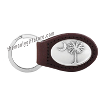 Load image into Gallery viewer, Palmetto Tree Zep-Pro Leather Concho Key Fob Brown, Camo or Black